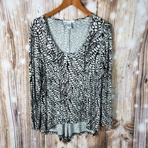 Grace Stretchy High Low Exotic Scale Top Blouse